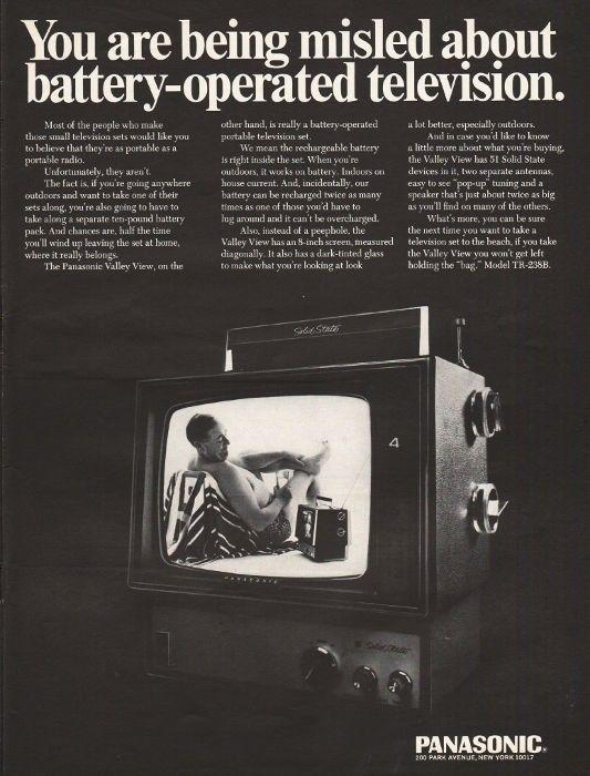 "1967 PANASONIC TELEVISION vintage magazine advertisement ""You are being misled"" ~ You are being misled about battery-operated television.  -  Panasonic Valley View  -  Model TR-238B ~"