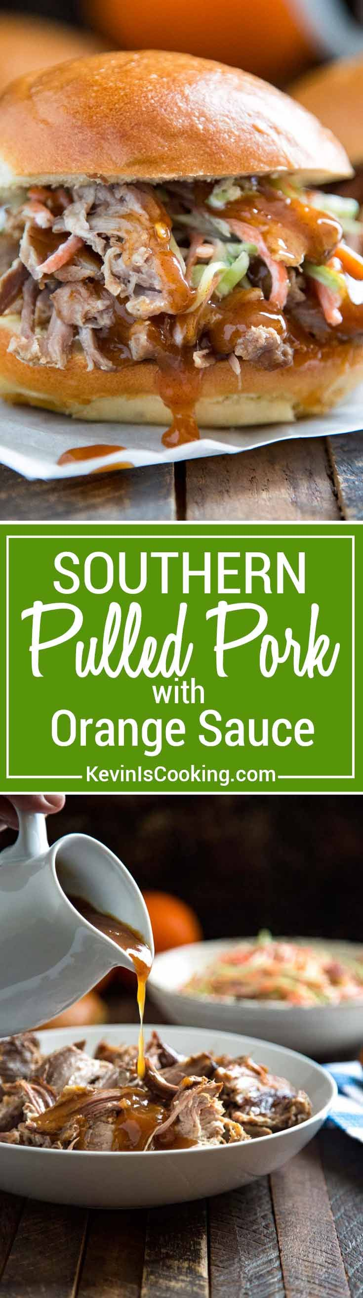 Southern Pulled Pork with Orange Sauce - marinated pulled pork served with an aromatic sauce made of orange juice, zest, cinnamon and cloves. Perfect with roasted vegetables or in a sandwich. This sauce is EVERYTHING. via @keviniscooking