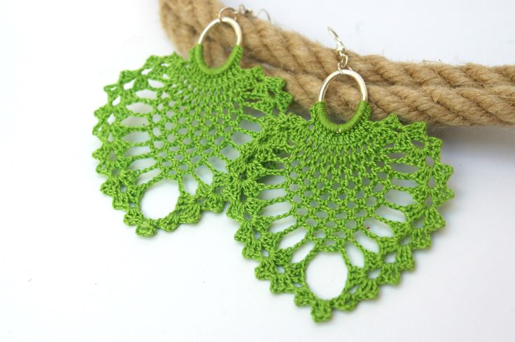 Crochet earrings - Large crochet earrings - Crochet earring jewelry - Pistachio green- Textile jewelry - by lindapaula on Etsy https://www.etsy.com/listing/192109765/crochet-earrings-large-crochet-earrings