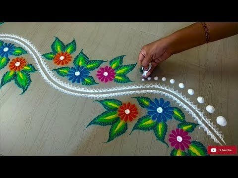 Beautiful Border Rangoli Design - YouTube