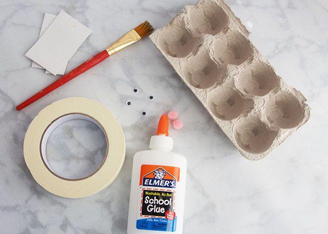 Supplies for Egg Carton Bunnies