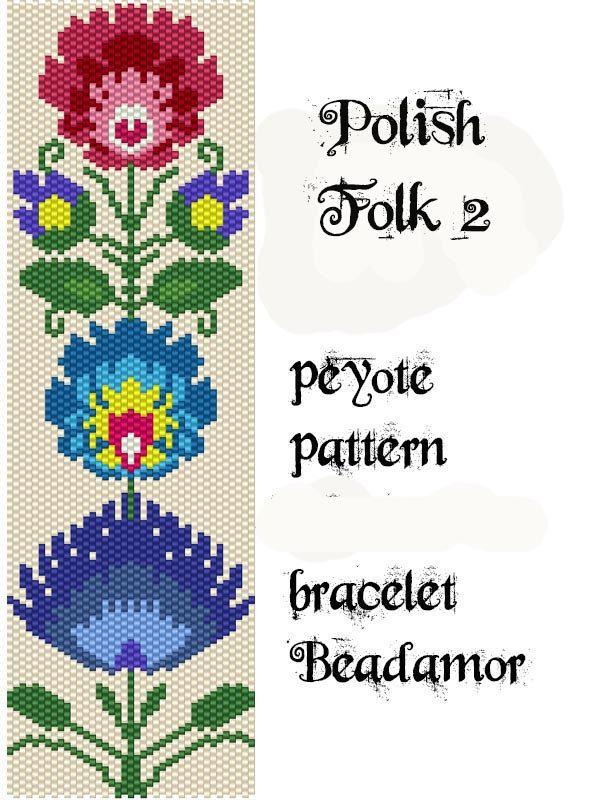 Peyote Pattern for bracelet: Polish Folk 2- INSTANT DOWNLOAD pdf by Beadamor on Etsy