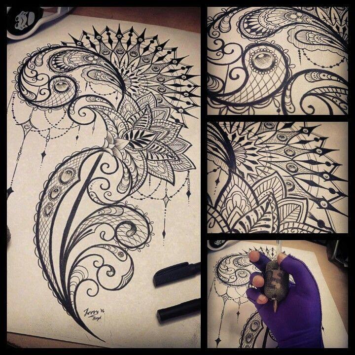 Mendi mandala tattoo design idea. Drawing by Dzeraldas Jerry Kudrevicius Atlantic coast tattoo.  Feminine lace filigree drawing.