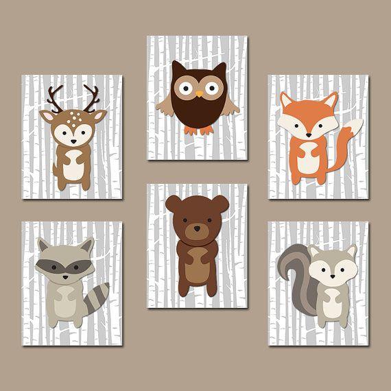 ★Woodland Kinderzimmer Wand Kunst Woodland Wall Art Artwork Birkenwaldes Holz Tier Deer Eichhörnchen Eule Waschbär Fuchs Boy Schlafzimmer Wand Kunst