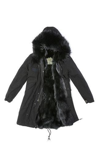 Black Parka With Black Fox by MR & MRS ITALY for Preorder on Moda Operandi