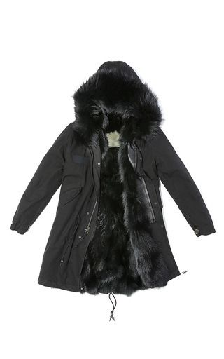 Black Parka With Black Fox by MR & MRS ITALY for Preorder on Moda Operandi