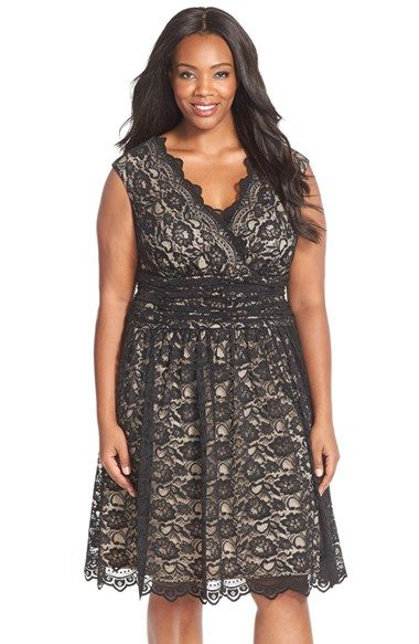 London Times Shirred Waist Cap Sleeve Lace Fit & Flare Dress (Plus Size) at Nordstrom