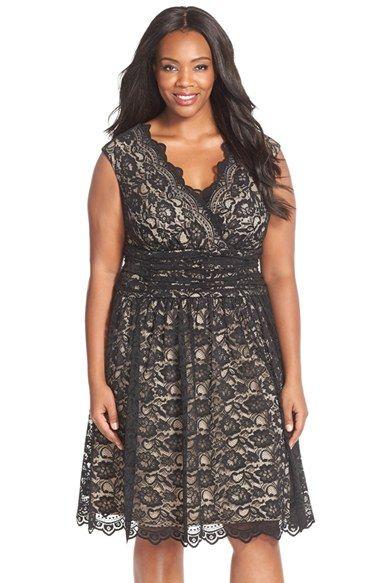 Love!!!  Plus Size Party Dress - Plus Size Shirred Waist Cap Sleeve Lace Fit & Flare Dress