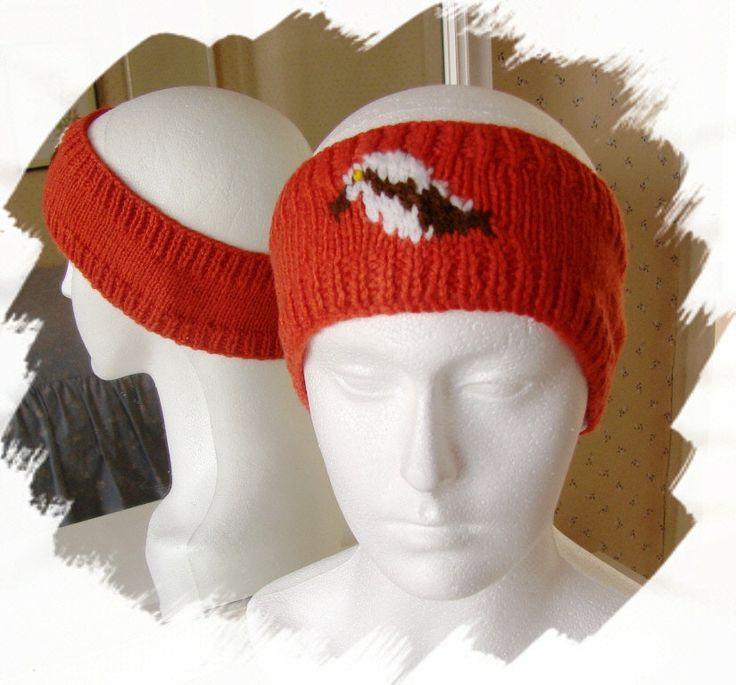 Osprey headband, knitted, orange, handmade in England, bird headband by Loonville on Etsy