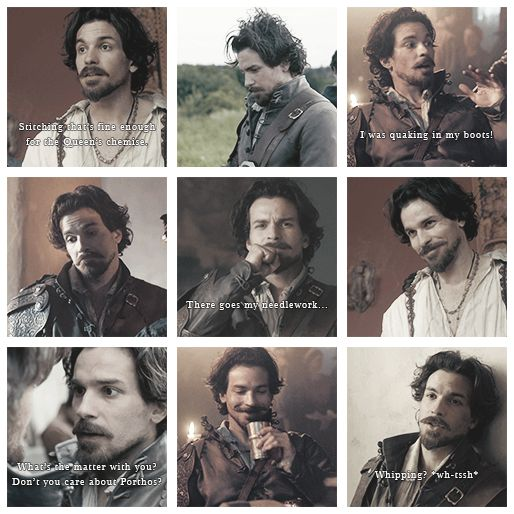 The many facial expressions of Santiago Cabrera (Aramis, episode 3 of The Musketeers)- middle left one is really cracking me up