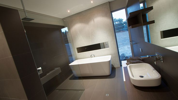 Mocha and white bathroom, bathroom design, white vanity, free standing white bath, wall recess above bath