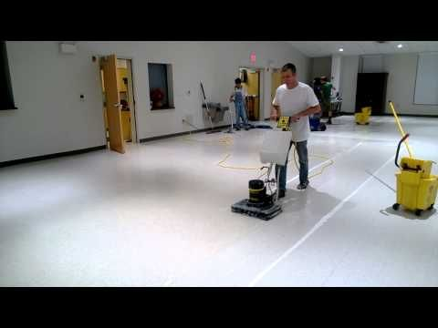 Square machine stripping VCT with water only - YouTube