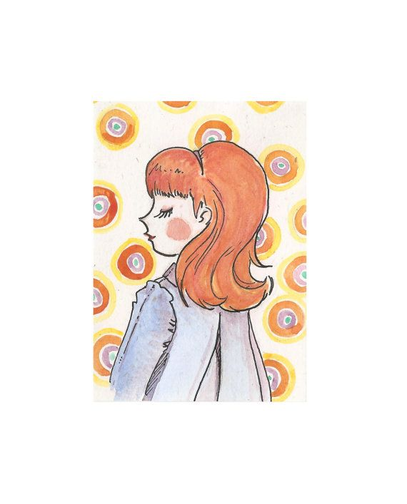 illustration aceo card size Amelia  girls by ThreeEyesStudio, €4.00