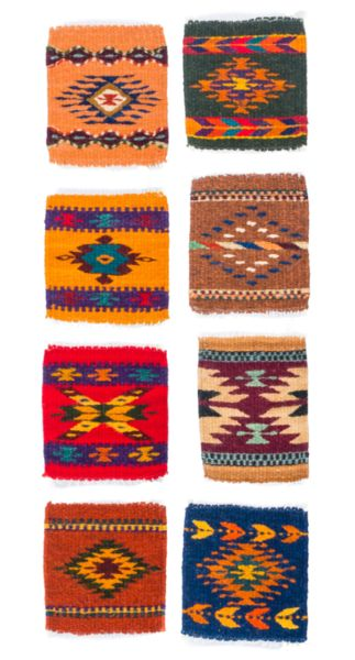 """How adorable are these Mendez Rug Wool Southwestern Coasters?! Lots of colors to choose from and 100% handmade, these little coasters will add the perfect finishing touches to any home! Dimensions measure approx. 5.5"""" x 5"""". Made of wool.  8 different colors/patterns to choose from."""
