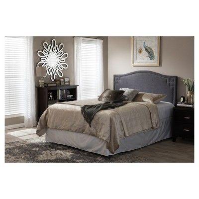 Aubrey Modern And Contemporary Fabric Upholstered Headboard - Queen - Dark Grey - Baxton Studio
