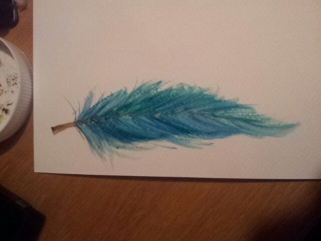 Watercolour feather