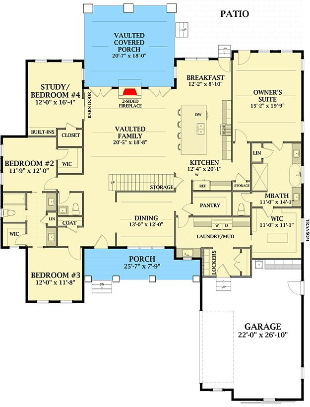 Plan 46368LA: Stunning 4-Bed Farmhouse Plan with First-Floor Master and Loft
