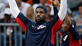 USA's Lebron James celebrates the team's win over Argentina in a preliminary men's basketball game at the 2012 Summer Olympics. (AP Photo/Eric Gay)
