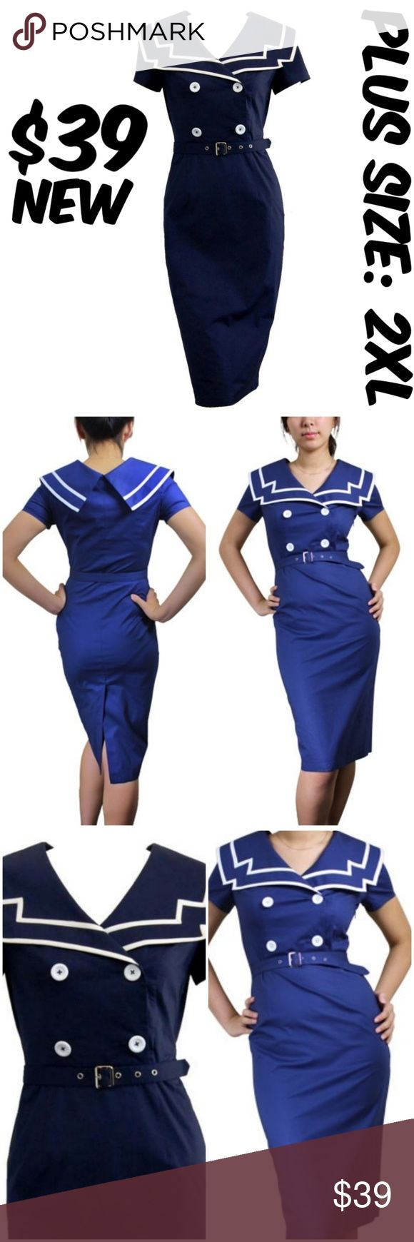 """Nautical Girl Pin Up Sailor Clothing Dress Vintage Nautical Girl Pin Up Sailor Clothing Dress Vintage BUST: 50"""" WAIST: 42"""" CONDITION: NEW BUT NEEDS SOME IRONING #C3 Dresses"""
