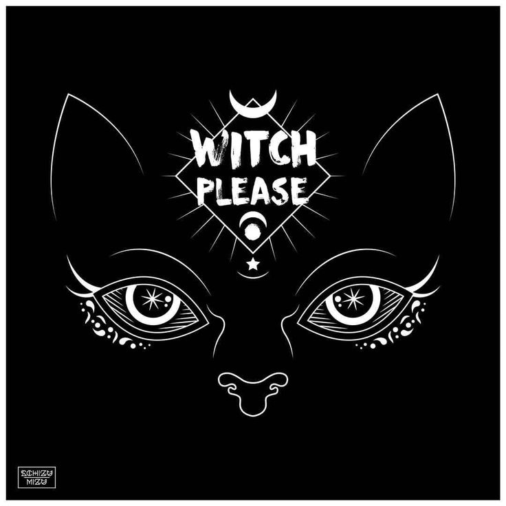 "Illustration ""Witch Please"" with black background. The work was entirely digital created with using vectors.  #schizumizu #occult #hex #cool #vintage #retro #dark #indian #metal #rock #magic #illustration #sailormoon #witch #design #blackcat #star..."