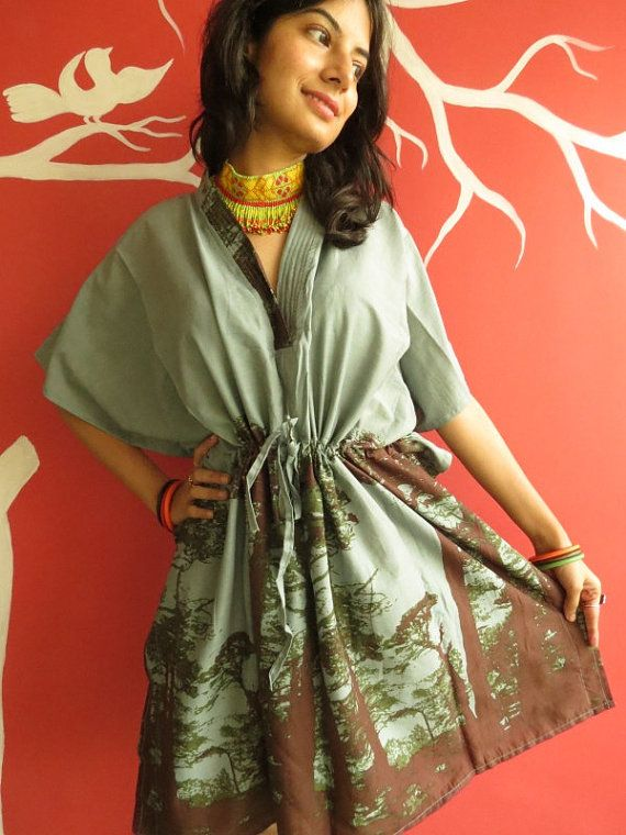 The tree of life  Gray short Kaftan Dress  Best by silkandmore