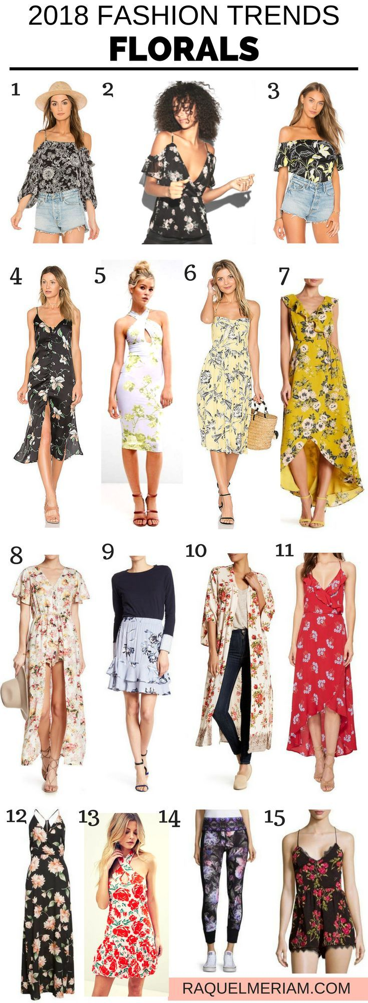 2018 Fashion Trends: Florals #spring #summer #fashiontrends #2018 #workoutfits #florals #dress #skirt #pants