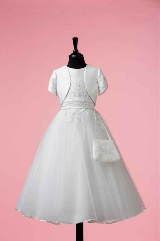 Sleeveless White Satin and Beaded Lace First Communion Dress with Jacket and Bag - Isabella Collection - Róisín 83G03044