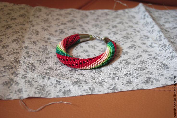 Купить бисерный комплект Арбузий - разноцветный, бисер, жгут из бисера, шнур из бисера