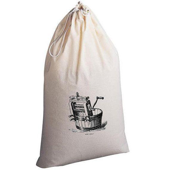 Laundry Bag Vintage Wringer by badbatdesigns on Etsy, $16.00
