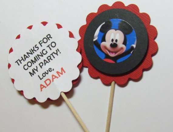 12 Mickey Mouse Cupcake Toppers Personalized by DesignsbyAliA, $6.99