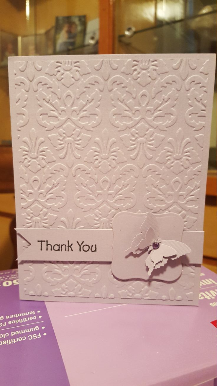 Mauve Butterfly Thank You Handmade Card by SimoneSaysCardShop on Etsy