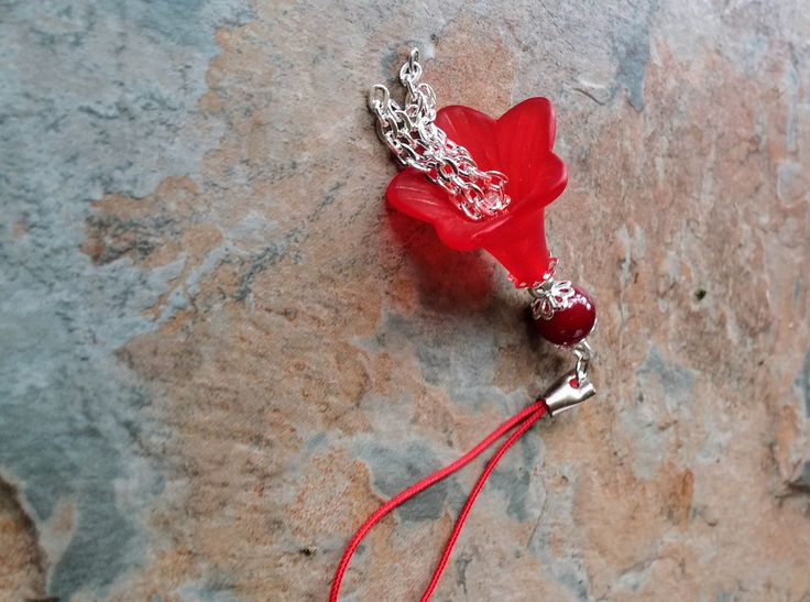 Red flower with silver chains, a red glass bead  and silver detail key chain/ charm phone charm, bag charm by SpryHandcrafted on Etsy