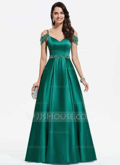0f5bd3e5bbe  144.00 €  Robe Marquise Princess Col V Longueur ras du sol Satiné Robe de soirée  avec Brodé Paillettes