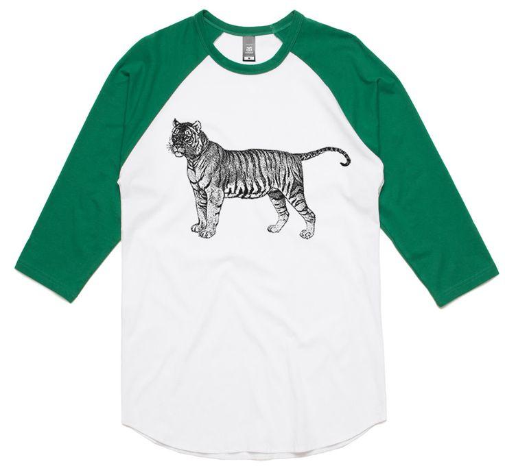 theIndie Vintage Tiger Engraving (Black) 3/4-Sleeve Raglan Baseball T-Shirt