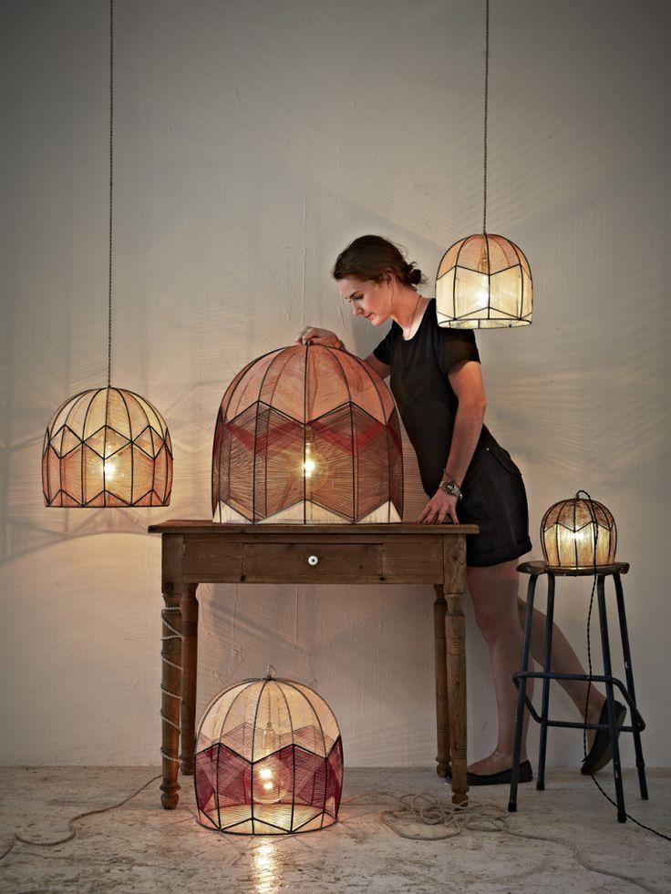 Alexandra Raben handmade lamps (steel and yarn)