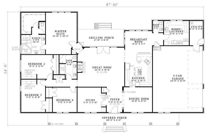 Cherry Street House Plan - 7886  4 bedroom 2.5 bath 3 car garage.