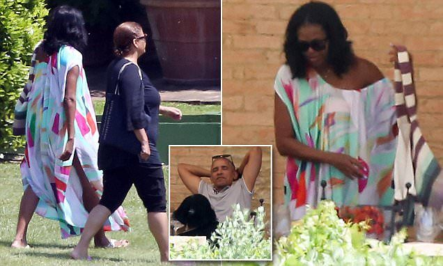 The former First Lady modeled a colorful caftan that fell off her shoulder and flat sandals as she and her husband had drinks and a fancy lunch on Monday at Borgo Finocchieto in Siena.