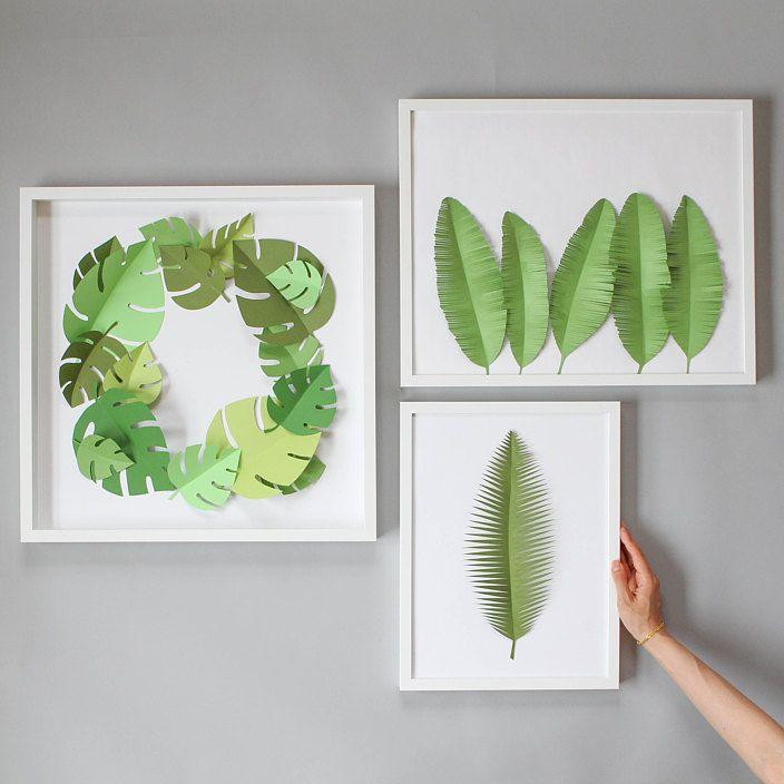 Take a walk on the wild side with this tropical-themed 3D project. Cut and fold paper to make a unique and custom work of art in an afternoon. Vary the leaf shapes, sizes, and colours to make a large statement piece, or frame a single leaf to add to your gallery wall.