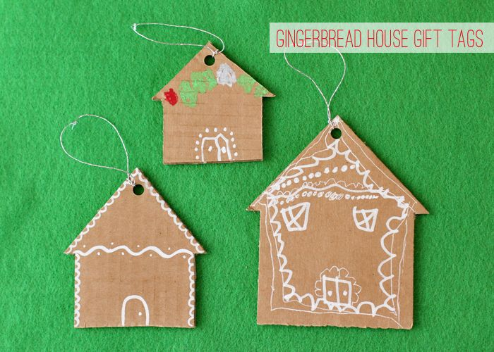 recycle cardboard boxes into gingerbread house gift tags #holiday #gift