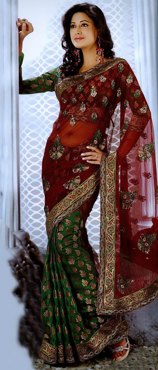 Dark #Red Net #Saree with Blouse @ $96.74 | Shop Now @ http://www.utsavfashion.com/store/sarees-large.aspx?icode=sej20