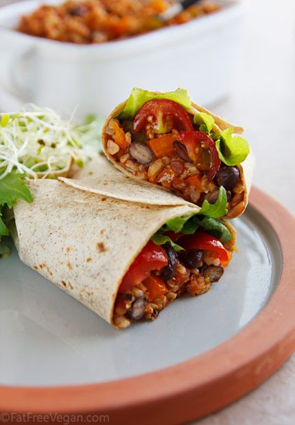 Spanish rice and Black bean burrito: Vegans Burritos, Beans Burritos, Brown Rice, Black Beans, Fat Free, Rice Burritos, Healthy Burritos, Spanish Rice, Vegetarian Burrito