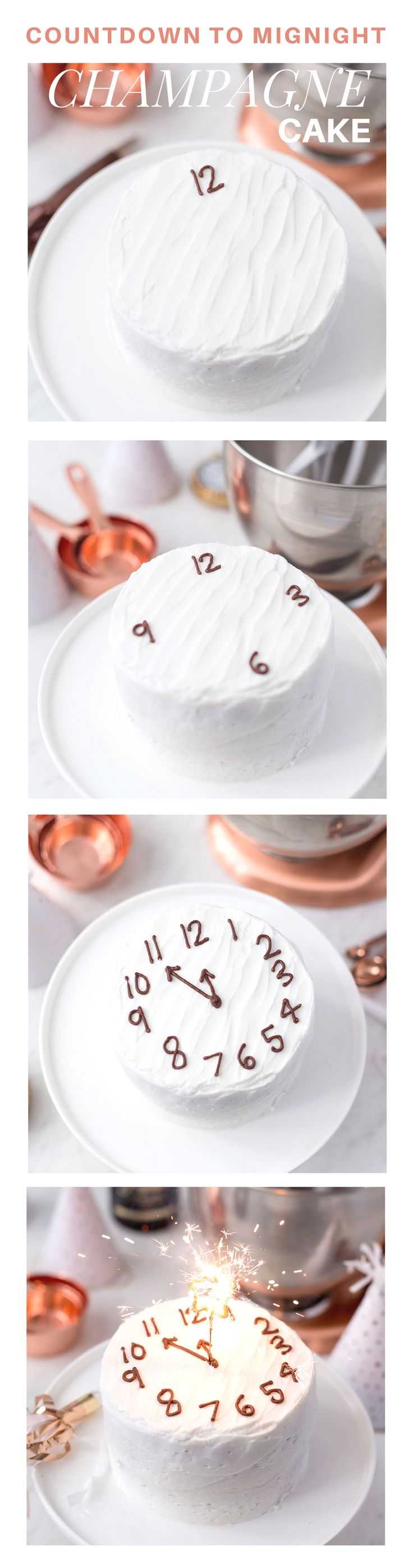 Countdown to Midnight Champagne Cake for the perfect New Year's Eve Dessert!
