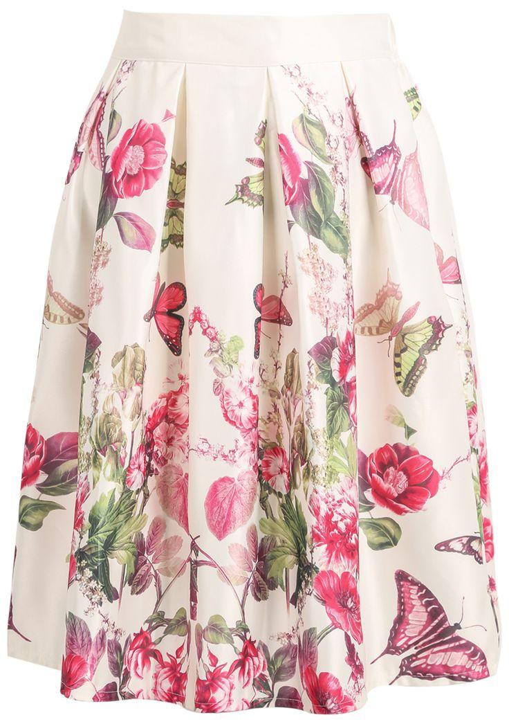 Beige Floral Butterfly Print Midi Skirt - Sheinside.com