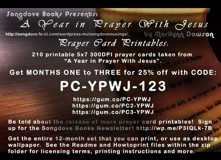 """In celebration of completing the first six months' worth of #prayercards for """"A #Year in #Prayer with #Jesus"""", the first three months are being offered at 25% off their usual $20.00. This sale will last until months 7 to 9 are completed. That means at any time, this sale could end if life lets me get on the ball and get those next three months done!  Clickable links: https://gum.co/PC-YPWJ/pc-ypwj-123 -  https://gum.co/PC2-YPWJ/pc-ypwj-123 -  https://gum.co/PC3-YPWJ/pc-ypwj-123"""