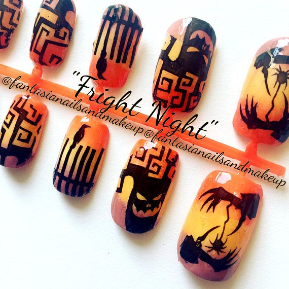 Orange Ombre Halloween Nails Square Fake Nails Press On Nails Glue On Nails Fake Nail Set False Nails Faux Nails Acrylic Nails With Images Halloween Nails Glue On Nails Press On Nails