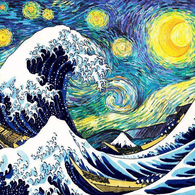 Starry Wave Night Coffee Table By Erwinbutar Black In 2020 Art Starry Night Wallpaper Big Art Prints