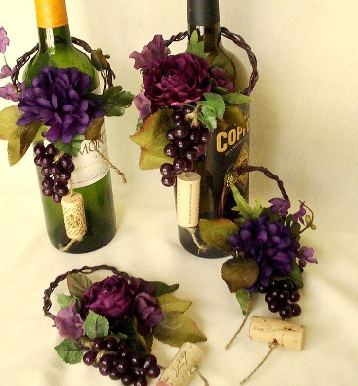 diy beach theme wedding centerpieces%0A Wedding Centerpieces Wine Bottle Toppers Set of   Reception Bridal Showers  purple grape Party decorations Event