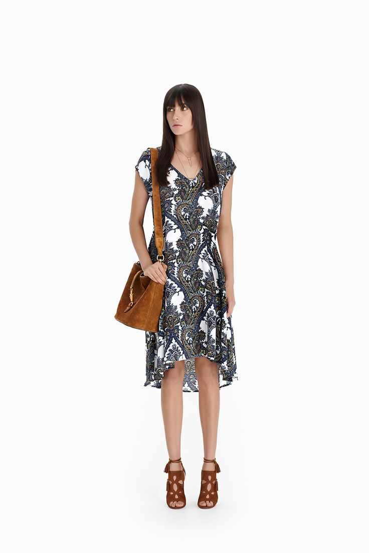 Folk Print Trapeze Dress
