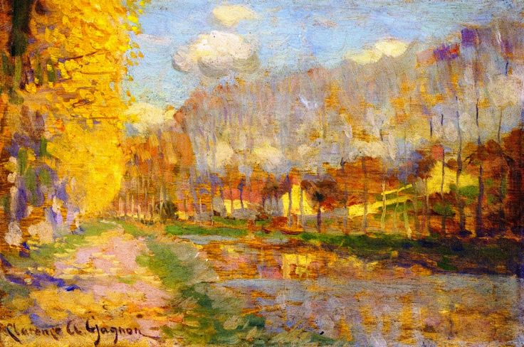 The Athenaeum - Canal du Loing, Moret (Clarence Gagnon - 1907-1908) Follow the biggest painting board on Pinterest: www.pinterest.com/atelierbeauvoir