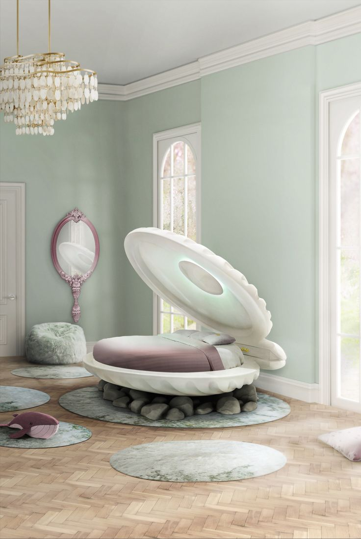 Inspired by the Little Mermaid's movie, CIRCU designed a shell shaped bed. Know more at www.circu.net #circu magical furniture #luxurykids kids room ideas #kidsroomdecor dream room